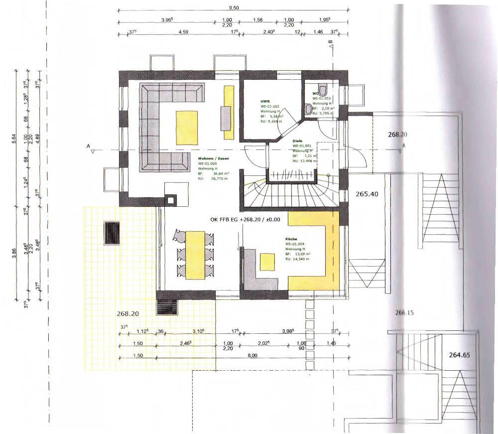 Grundriss Wohnbereich-Küche